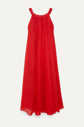 Three Graces London Evangeline Off-the-shoulder Pleated Ramie Maxi Dress - Red