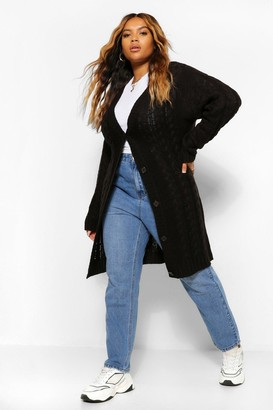 boohoo Plus Cable Knit Chunky Cardigan