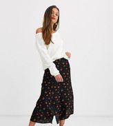 New Look Petite side split midi skirt in rose print