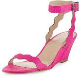 Loeffler Randall Minnie Snakeskin Wedge Sandal, Bright Fuchsia