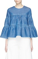 Co Bell sleeve ruffle denim blouse
