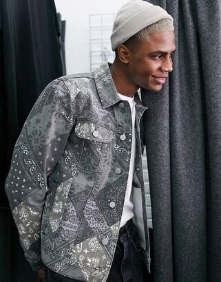 ASOS DESIGN denim jacket in paisley print
