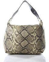 LAI Beige Brown Python Silver Tone Hardware Shoulder Handbag