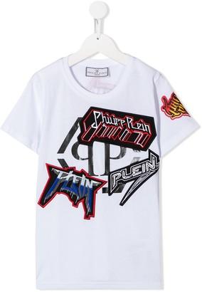 Philipp Plein Junior Rock applique T-shirt