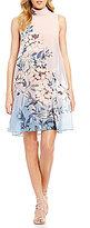 Vince Camuto Chiffon Mockneck Soft Floral Dress