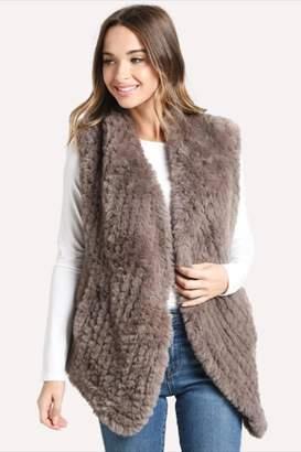Dylan Draped Faux-Fur Vest Taupe