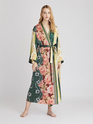 Oscar de la Renta Patchwork Stripe Satin Crepe Long Robe
