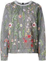 Odeeh floral embroidery quilted sweatshirt