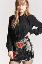 Forever 21 Floral Sequin Mini Skirt
