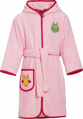 Playshoes Girl's Terry Bathrobe Owl Hooded