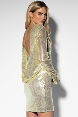 Rebecca Stella Sequin Open Back L/S Dress