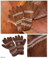 Alpaca blend gloves, 'Earthen Clouds'