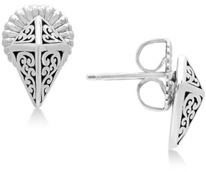 Lois Hill Filigree Pyramid Stud Earrings in Sterling Silver