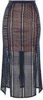 Topshop Geometric Lace Split Midi Skirt