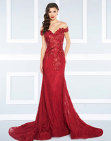 Mac Duggal Black White Red - 66214R Off the Shoulder Rich Lace Gown