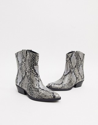 Bershka cowboy ankle boot in snake