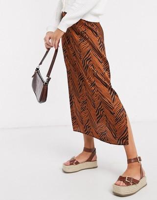Brave Soul eden midi slip skirt in satin effect-Brown