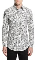 Tom Ford Western-Style Tailored Pansy-Print Sport Shirt, White