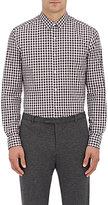 Theory Men's Zack. Garber Gingham Cotton Shirt-WHITE, BURGUNDY, BLACK