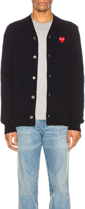 Comme des Garcons Lambswool Cardigan with Red Emblem in Navy | FWRD