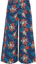 House of Holland Bark Printed Slub Cotton Culottes - Blue