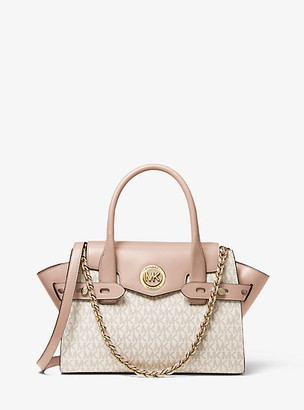 MICHAEL Michael Kors MK Carmen Small Logo and Leather Belted Satchel - Vanilla/soft Pink - Michael Kors