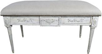 One Kings Lane Vintage Italian Neoclassical Style Linen Bench - White