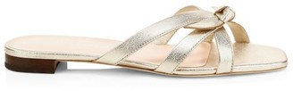 Loeffler Randall Eveline Knotted Metallic Leather Flat Sandals