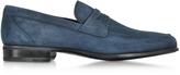 Moreschi Graz Navy Blue Suede Loafer Shoe w/Rubber Sole