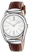 Gucci Horsebit Stainless Steel Brown Leather Strap Watch, YA140402