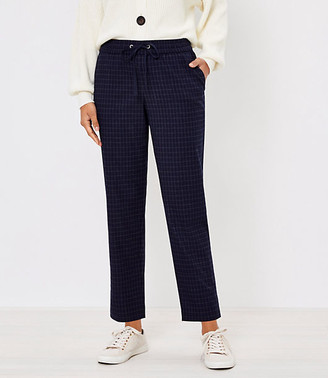LOFT Tapered Pull On Pants in Windowpane Brushed Flannel