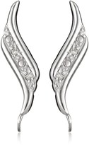 The Ear Pin Sterling Silver Diamond Accent Polished Edges Earrings