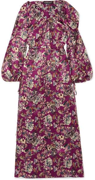 Y/Project Printed Silk Maxi Dress - Burgundy