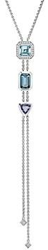 David Yurman Novella Y Necklace with Blue Topaz and Pave Diamonds, 17.5