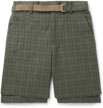 Sacai Belted Checked Cotton Shorts