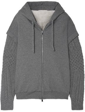 Stella McCartney Oversized Cable-knit Wool And Alpaca-blend Cotton-jersey Hoodie