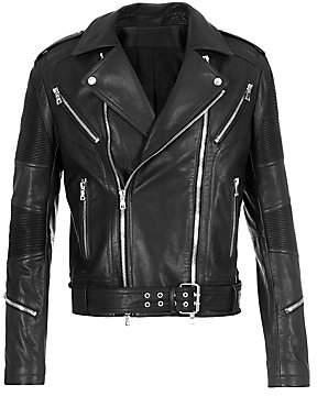 Balmain Men's Rib-Patch Leather Moto Jacket