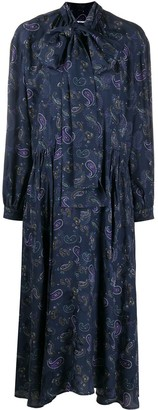 Acne Studios Paisley Print Tie-Neck Dress