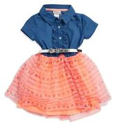 Little Lass Little Girl's Denim and Mesh Dress