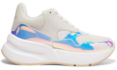 Alexander McQueen Smooth And Iridescent Leather Exaggerated-sole Sneakers - White