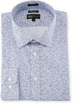 Neiman Marcus Trim-Fit Floral Dress Shirt, Blue