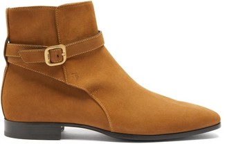 Tod's Buckled-suede Ankle Boots - Tan