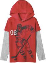 Joe Fresh Kid Boys' Hooded Graphic Tee, Crimson (Size M)