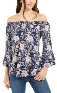 Style&Co. Style & Co Floral-Print Lantern-Sleeve Off-The-Shoulder Top, Created for Macy's