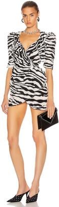 ATTICO Drape Buckle Mini Dress in Zebra Print   FWRD