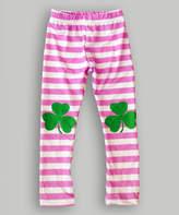 Urban Smalls Light Pink Stripe Shamrock Leggings - Infant, Toddler & Girls