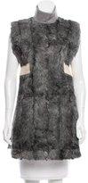 Celine Fur-Paneled Ostrich-Trimmed Tunic