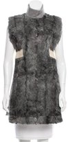 Celine Fur-Paneled Ostritch-Trimmed Tunic