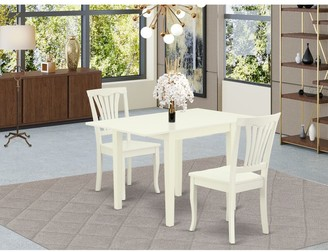 East West Furniture Rectangle Breakfast Table and Kitchen Chairs with Wooden Seat