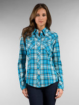 Long Sleeve Plaid Flannel in Turquoise